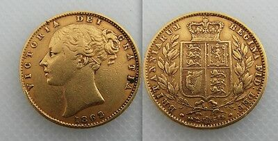 Collectable 1862 Queen Victoria Shield Back Full Gold Sovereign Coin