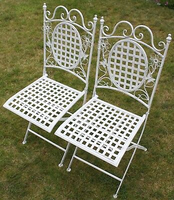 Two White Floral Outdoor Folding Metal Square Garden/Patio Chairs