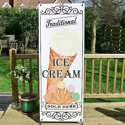 MIXED TRADITIONAL ICE CREAM SOLD HERE BANNER DISPLAY SYSTEM Free Standing