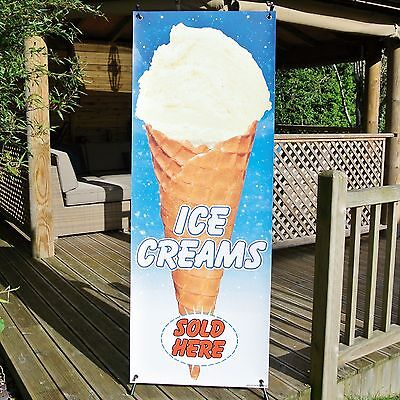 ICE CREAMS SOLD HERE BANNER DISPLAY SYSTEM Free Standing Weatherproof Sign