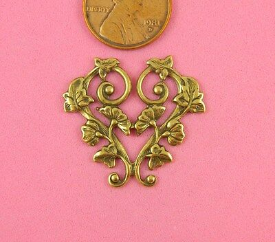 Vintage Design Ant Brass Single Scrolled Heart - 1 Pc
