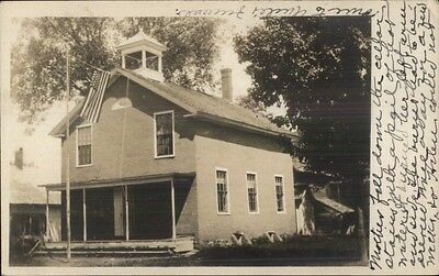 Bldg & American Flag - Machias ME Cancel & Message Real Photo Postcard