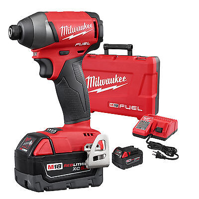 "Milwaukee M18 Gen 2 FUEL 1/4"" Hex Impact Driver Kit 5.0Ah Batts 2753-22 New"