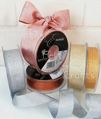 7, 15, 25, 40mm Sparkly Lame Ribbon Rose Gold Silver Gold Copper Wedding Glitter