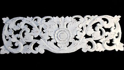 """Balinese Lotus Architectural Panel Wall Art hand Carved wood Whitewash 40"""""""