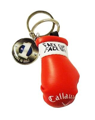 """NEW Callaway """"Face Cup Face Off"""" Red/White Leather Boxing Glove KeyChain"""
