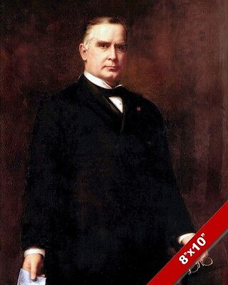 William Mckinley Us President Portrait American Painting Art Real Canvas Print