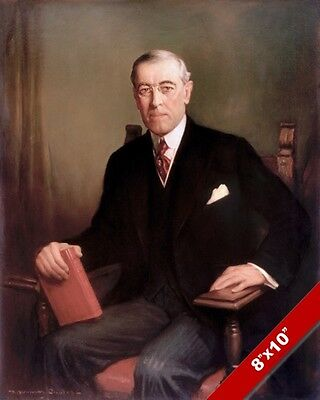 Woodrow Wilson Us President Portrait American History Painting Art Canvas Print