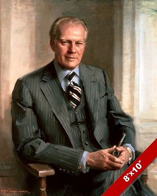 Gerald Ford Us President Portrait American History Painting Art Canvas Print