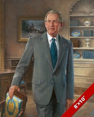 George W Bush Us President Portrait American History Painting Art Canvas Print