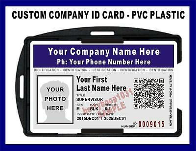 Custom Company / Employee ID Badge / Card  HOLOGRAPHIC   Scannable QR Code - PVC