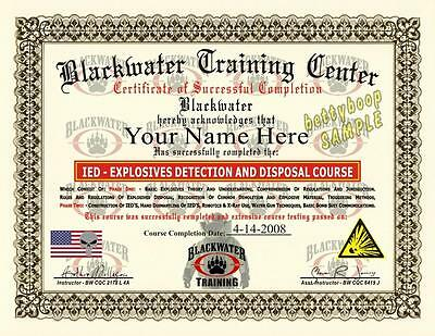 BLACKWATER Certificate Prop (EXPLOSIVES DETECTION AND DISPOSAL COURSE) *Custom*