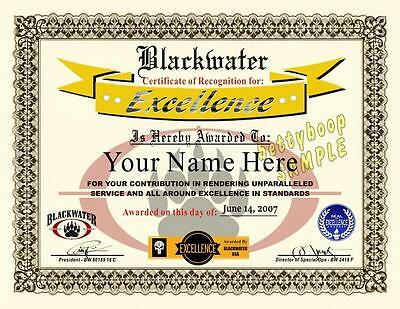 BLACKWATER Certificate Prop (CERTIFICATE OF EXCELLENCE) Award ****Custom****