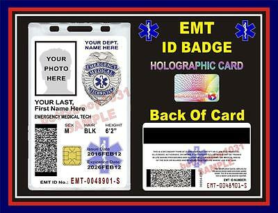 EMT (Emergency Medical Tech) ID Badge/ Card  CUSTOM With Your Photo & Info  PVC