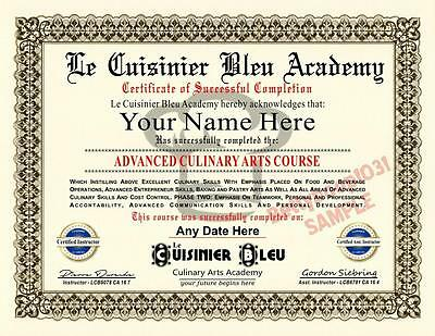 Culinary Arts Course DIPLOMA / CERTIFICATE Prop *CUSTOM W YOUR NAME & DATE* CHEF