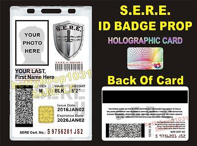 SERE ID Badge/ Card   CUSTOM W/ Your Photo & Info   - US MILITARY STYLE CAC CARD