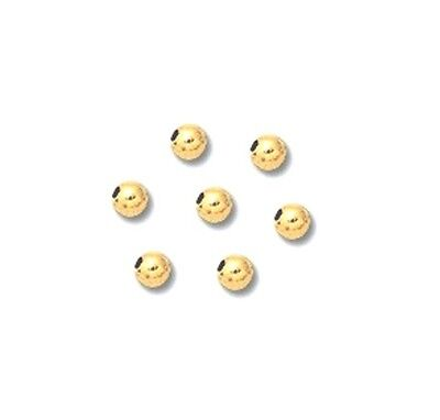 14 k Yellow Gold BRIGHT Beads 2 MM Pkg. Of 50 Solid Gold Made In USA #2102