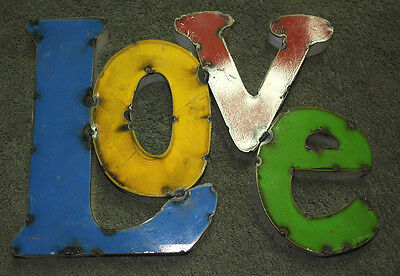 RUSTIC Metal Industrial LETTERS LOVE TIN Sign GARDEN Home Ranch Decor