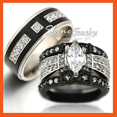 His Hers Black Stainless Steel Titanium Mens Womens Engagement Wedding Band Ring