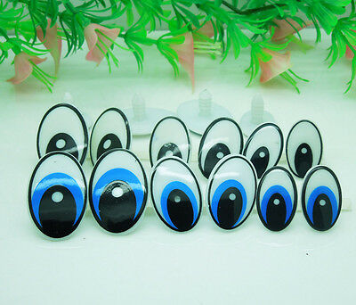 50Pcs Oval Blue and White Safety Plastic Eyes for Amigurumi Puppets Dolls Crafts