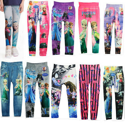 4-10 Y Kid's Girls Colorful Skinny Jeans Leggings Casual Stretchy Trousers Pants