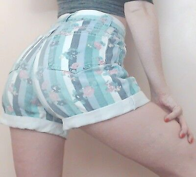 "Womens VINTAGE 90s Blue GRUNGE High Rise Floral Jean denim Cut Off Shorts 24"" W"