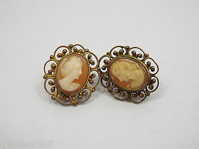 Vintage Cameo Earrings Filigree Silver Frame Gold Wash w/ Screw Backs