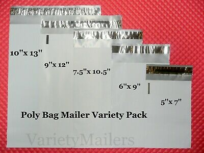 100 Poly Bag Envelope Mailer Variety 20 each of 5 Sizes Free Expedited Shipping!