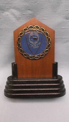 Jaycees trophy solid walnut full color  insert blue award
