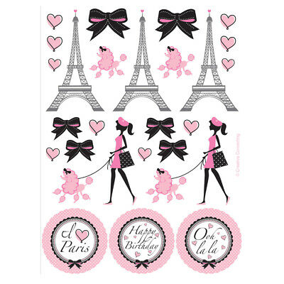 Party in Paris Birthday Favors Sticker Sheets Eiffel Tower