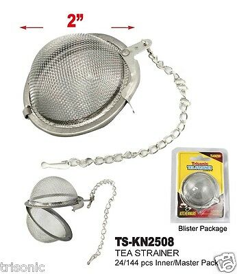 Tea Infuser Ball Mesh Loose Leaf Herbs Strainer Reusable Steel Secure Locking 2""