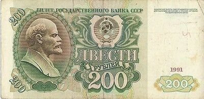 Russian Ussr Banknote.200 Rubles Old Vintage Banknote Year 1961