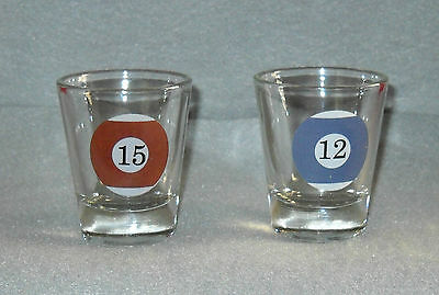 Pool Ball Billiards Shot Glasses x2 #12 Blue & White and #15 Brown & White