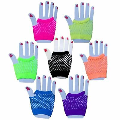 FISHNET GLOVES Fingerless Womens Costume Party 70s 80s Fluro Neon Party Dance