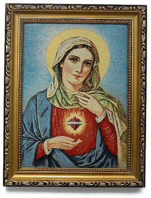 k#  LARGE FRAMED EMBROIDERED PICTURE SAINT MARY CHRISTIAN ART RELIGIOUS
