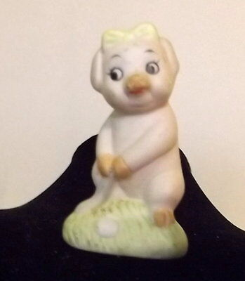 VTG tiny miniature FEMALE LADY golfer golfing pig figurine ceramic