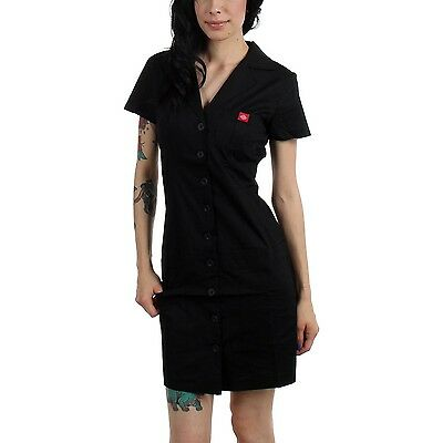 Dickies Girl Betty Dress Diner Black button down front short sleeve 50s retro