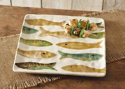 "Mud Pie Lake House Fish 13"" Square Serving Plate Dish Platter Rustic 4074029 New"
