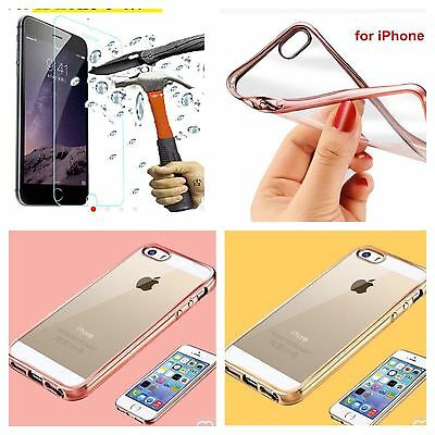 iPhone SE Crystal Clear Chrome Thin Soft Glossy Gel Cover Case & Tempered Glass