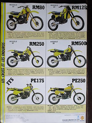 Brochure Catalogue 1983  Moto Suzuki  Rm 80 125 250 500  / Pe 175 250