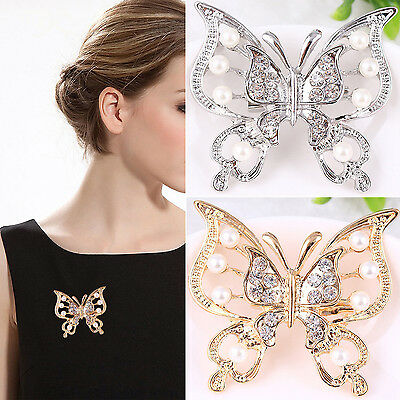 UP Large Silver/Gold Plated Butterfly Rhinestone Crystal Wedding Pin Brooch
