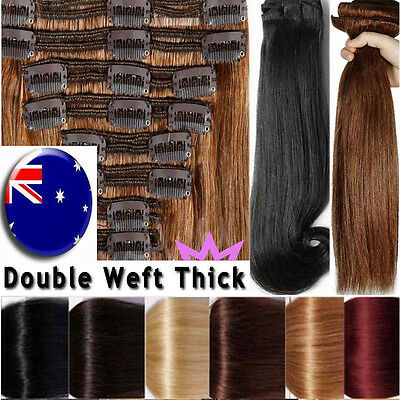 Thick Weft Full Head Remy Human Hair Extensions Clip in Black Brown Blonde NewAU
