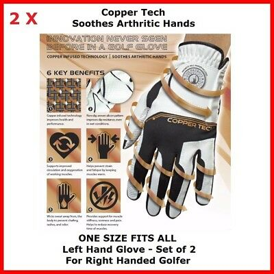 Copper Tech Golf Glove FORM FIT COMFORT One size Fit All 2 of Womens left Gloves