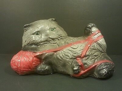 "Vtg Cement 11.5"" Kitten Cat Playing w/Yarn Ball Garden Statue Painted Concrete"