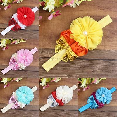 Rose Flower Toddler Newborn Baby Girl Pearl Headband Hair Band Hair Accessories