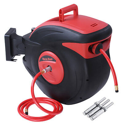 "Retractable Air Compressor Hose Reel Auto Rewind Tools 100ft 3/8"" 300 PSI Garage"