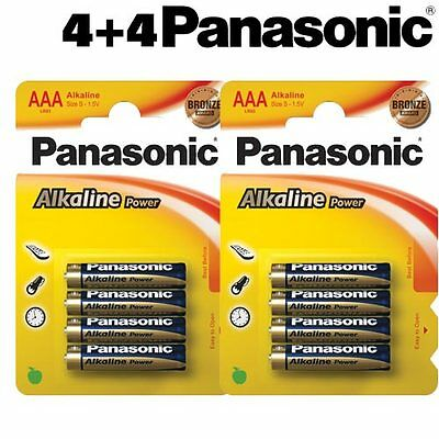 8 Batterie Pile Ministilo Panasonic Alkaline Power Plus AAA Pile Mini Stilo