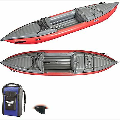 Gumotex - Helios 1 High Pressure Inflatable Kayak with Dry Bag and Fin - Red