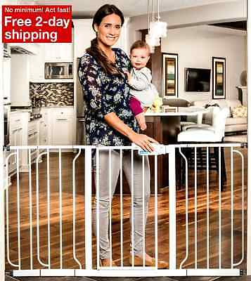 Baby Safety Gate Pressure Mount Extra Wide Walk Thru Door Child Pet Dog White