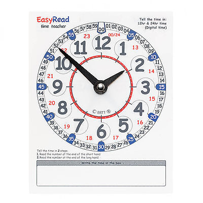 EasyRead Twin Learn to Tell the Time Time Teaching Wipe Clean Learning Clock